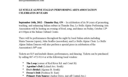 Le Stelle Alpine Italian Performing Arts Association celebrates 30 years