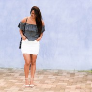 Summer Outfit with White Skirt and Chambray Top
