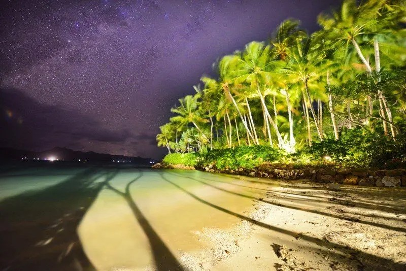 The night sky over Coconut Beach, Hayman Island