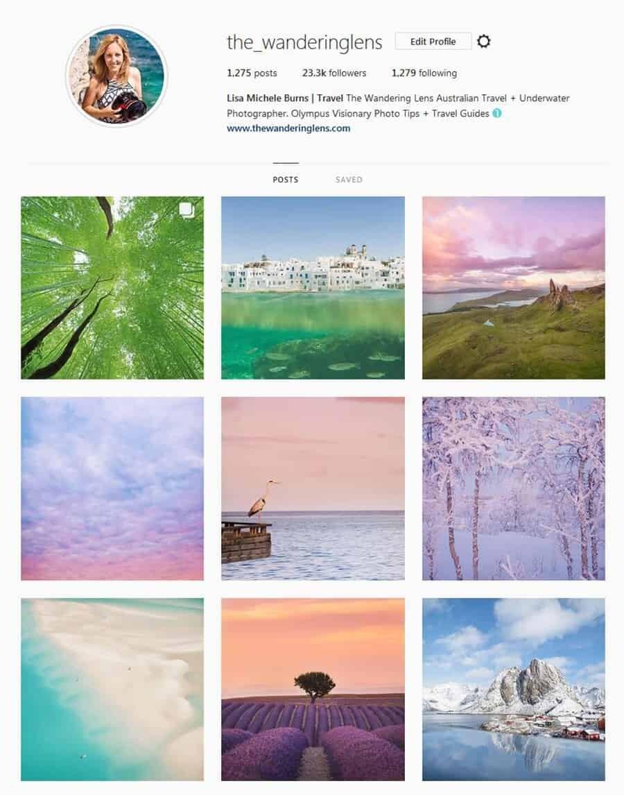 The Wandering Lens Instagram - Social media for photographers