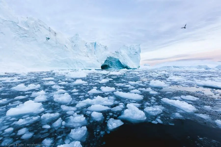 Iceberg and ice in the Ilulissat Icefjord in Greenland