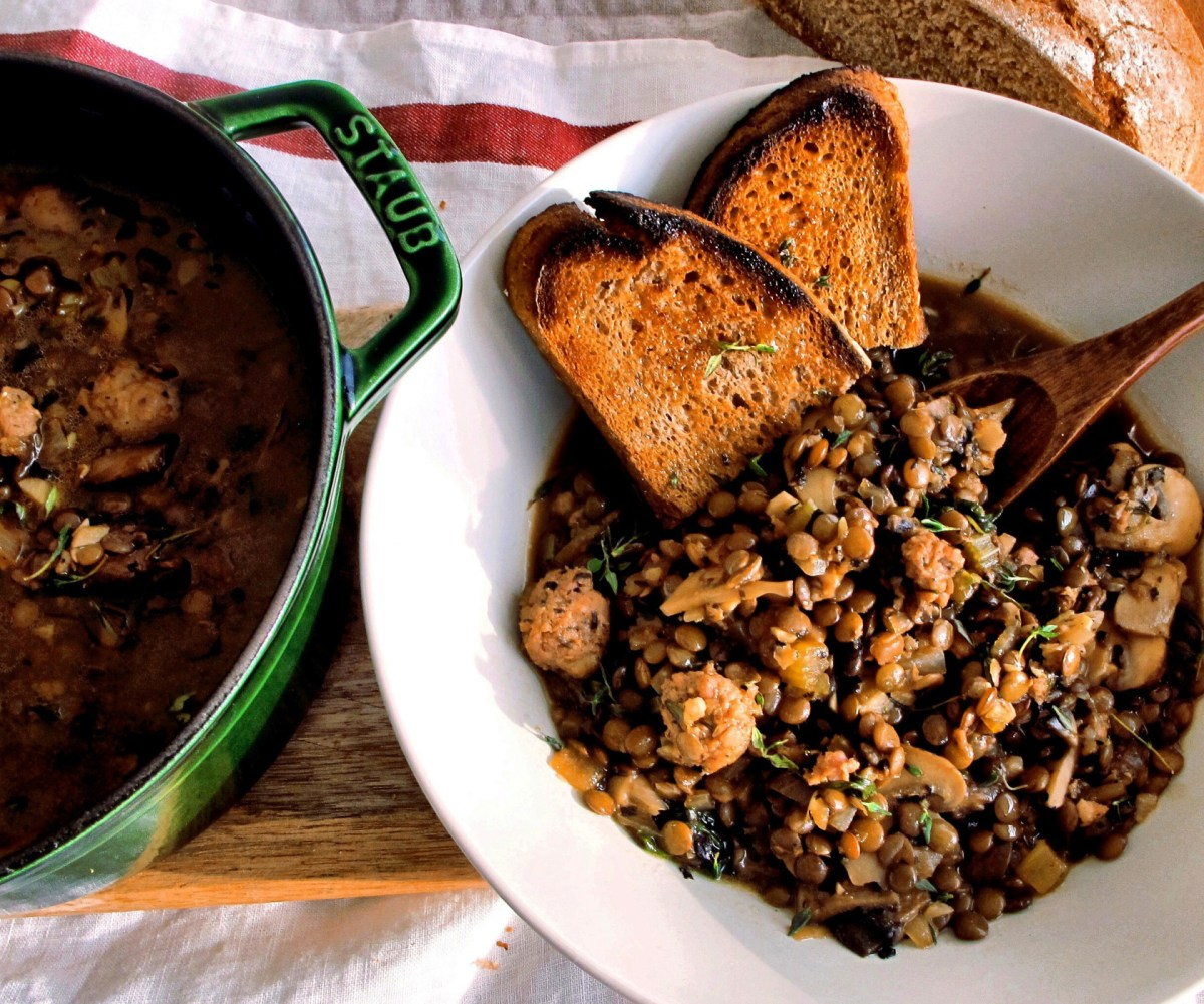 Creamy Lentils with Mushrooms & Italian Sausage