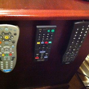 Organize remotes with velcro!