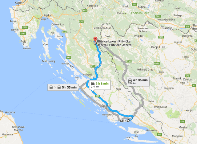 Getting from Split to Plitvice