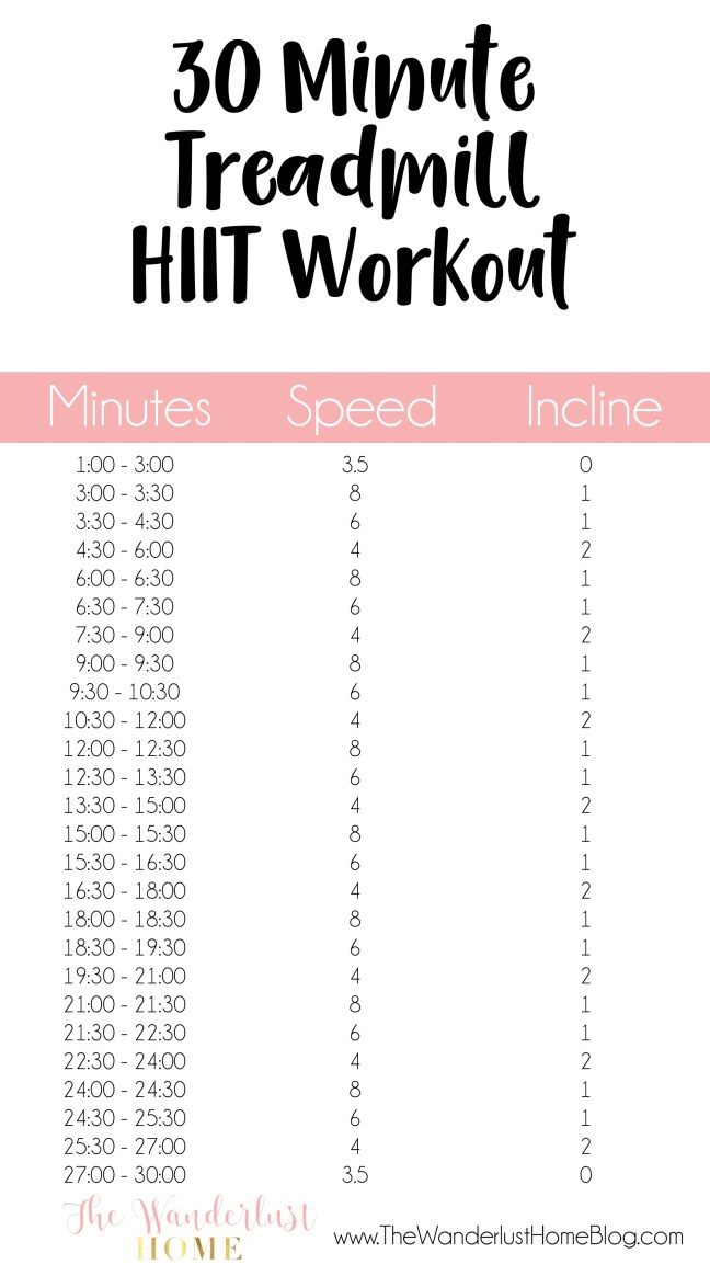 30 minute treadmill HIIT workout