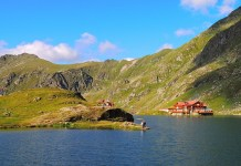 Balea Lake is a glacial lake at an altitude of 2,040 m in the Fagaras Mountains, in central Romania, in Sibiu County