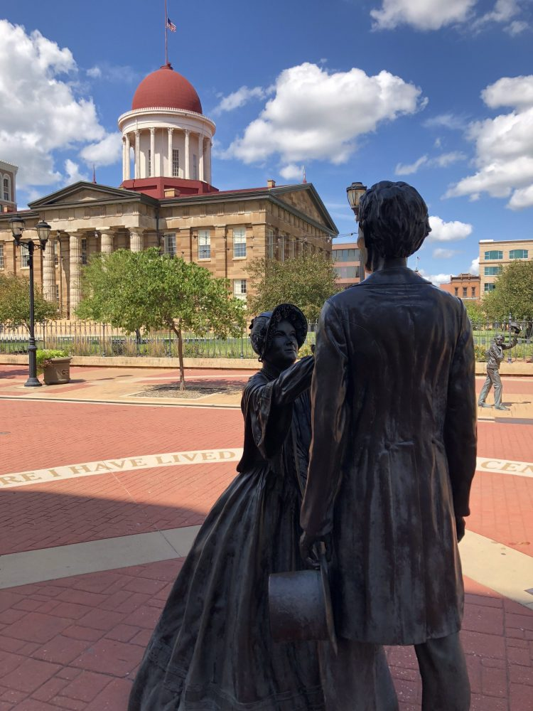 Statue of Mary and Abraham Lincoln outside Illinois Old State Capital Springfield IL