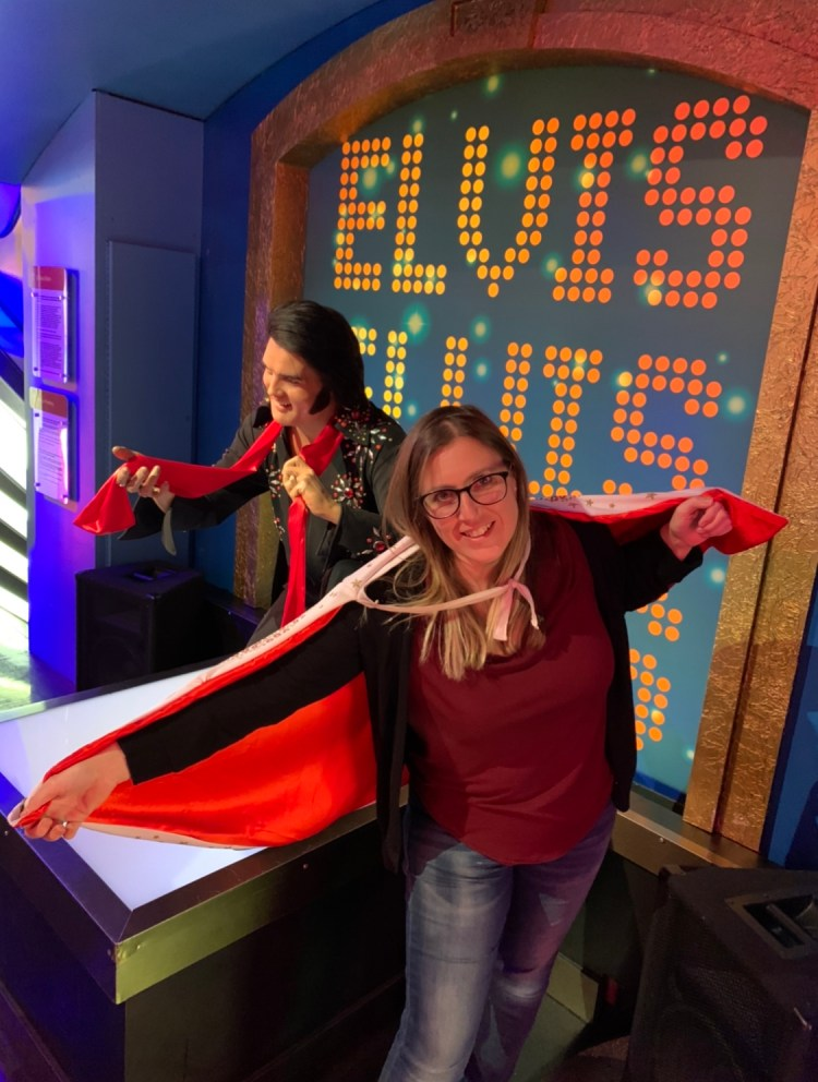 Girl with Elvis cape