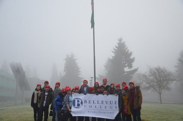 Above:The BC group wore Bellevue College hats and carried a banner as they marched alongisde hundreds of others.