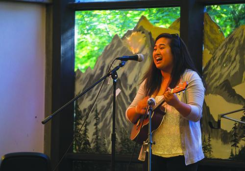 Jennifer Balbas performs with her ukulele.