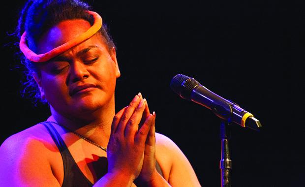 Kaumakaiwa Kanaka'ole on stage
