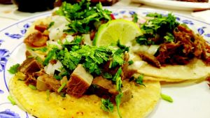 Beef tongue, carnitas and cow intestine tacos. Brian Tockey / The Watchdog