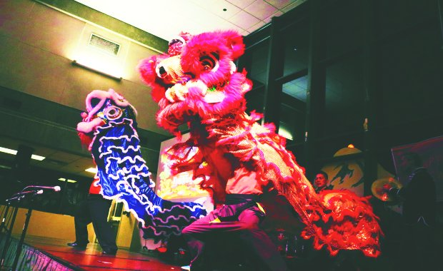 Celebration ending with a traditional lion dance.