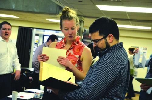 A company representative advising a student about jobs.