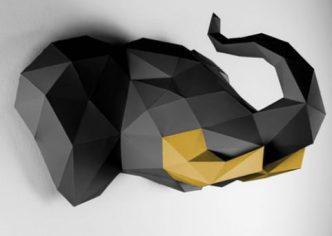 Elefant-schwarz-gold papertrophy