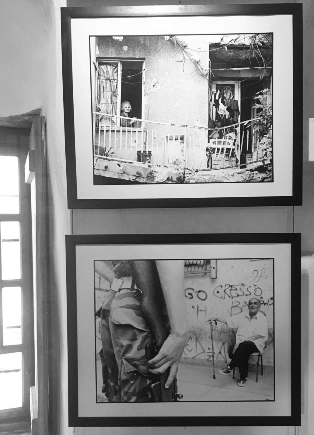 Two photos inside the War Photo Exhibition