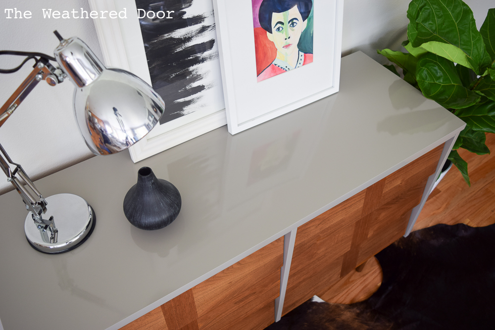 Gloss Grey and Wood Lacquered Mid Century Dresser | from The Weathered Door