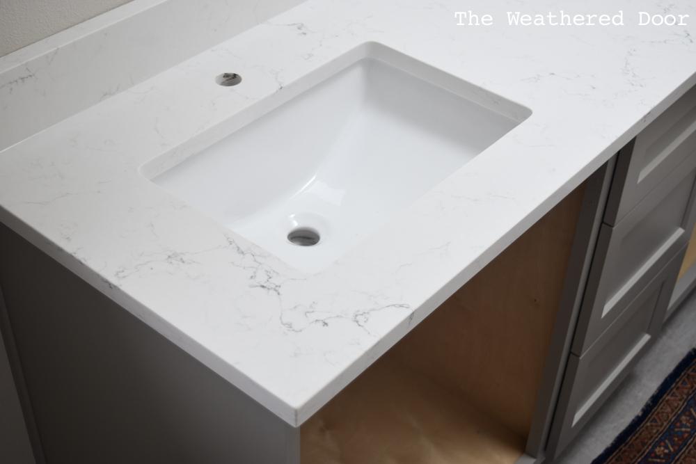 Guest Bathroom Reno: Quartz Countertops and Grout - One Room Challenge Week 5