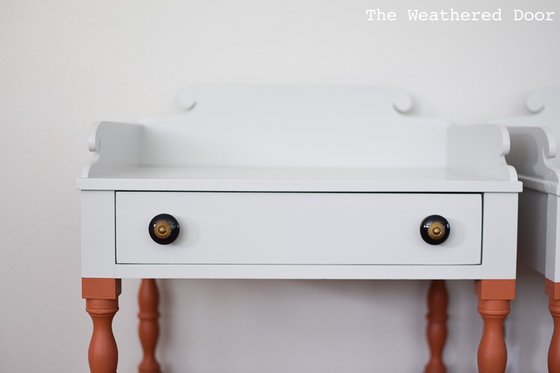 Orange and Grey Color Block Milk Paint Nightstands | theweathereddoor.com