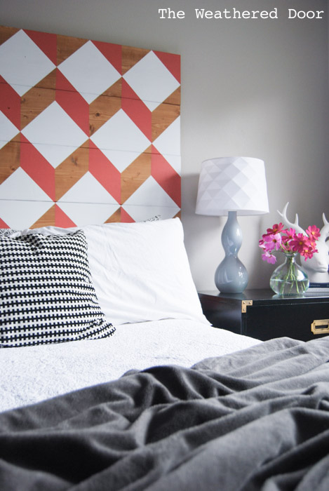 coral geometric headboard tutorial | from The Weathered Door wd-12