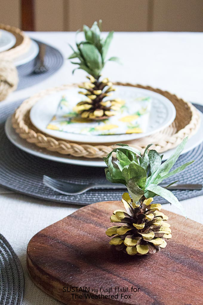 Pineapple Party Decorations DIY Pine Cone Pineapples  The Weathered Fox