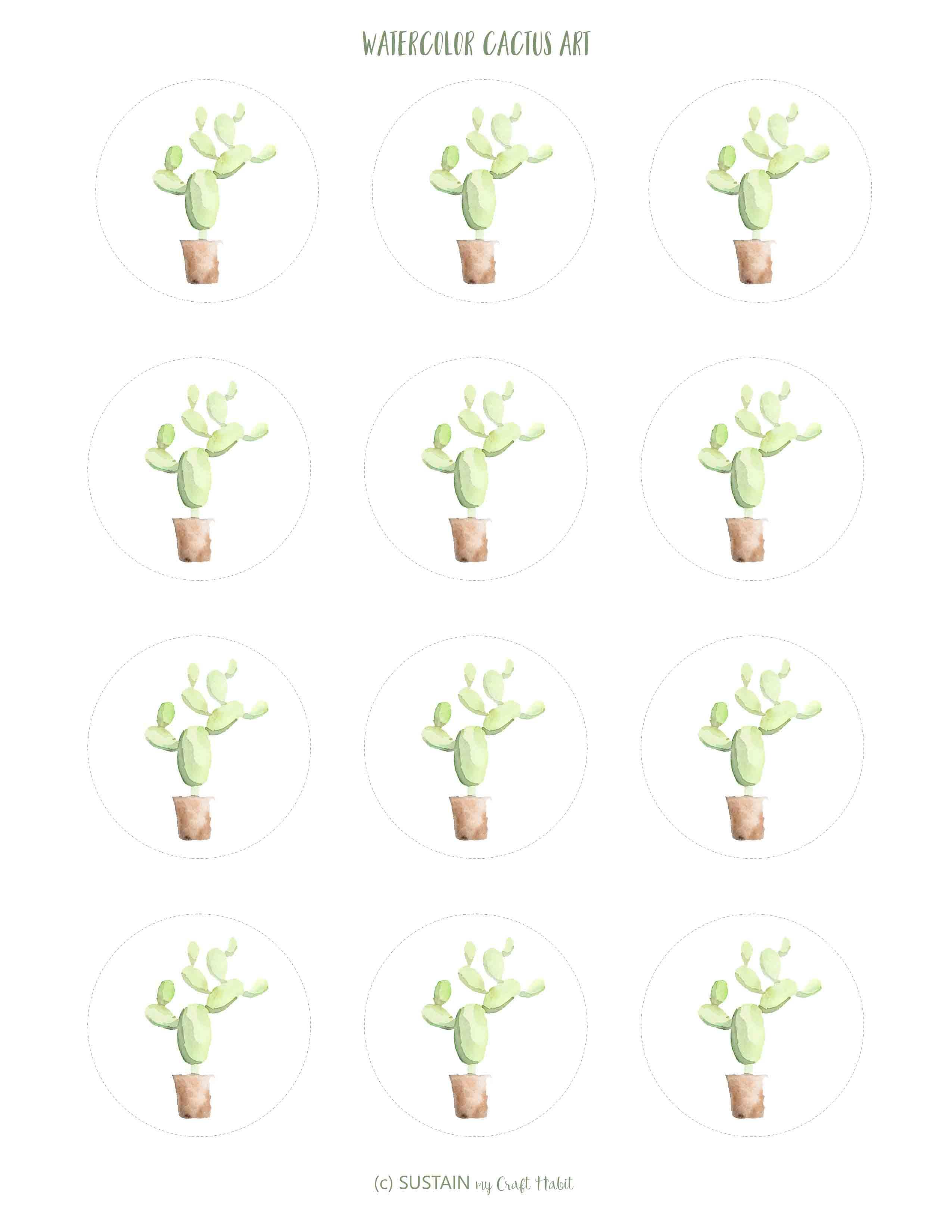 Watercolor Cactus Cupcake Toppers Free Printables