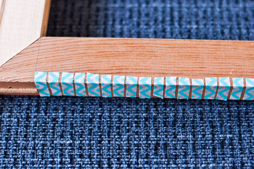 continue cutting and placing the washi tape with gaps for your warp thread across the bottom of your frame loom repeat the washi tape step across the top