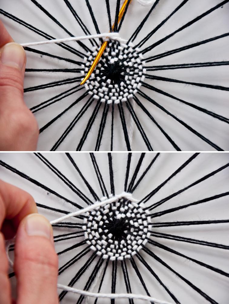 Hem Stitch in a Circle Weave