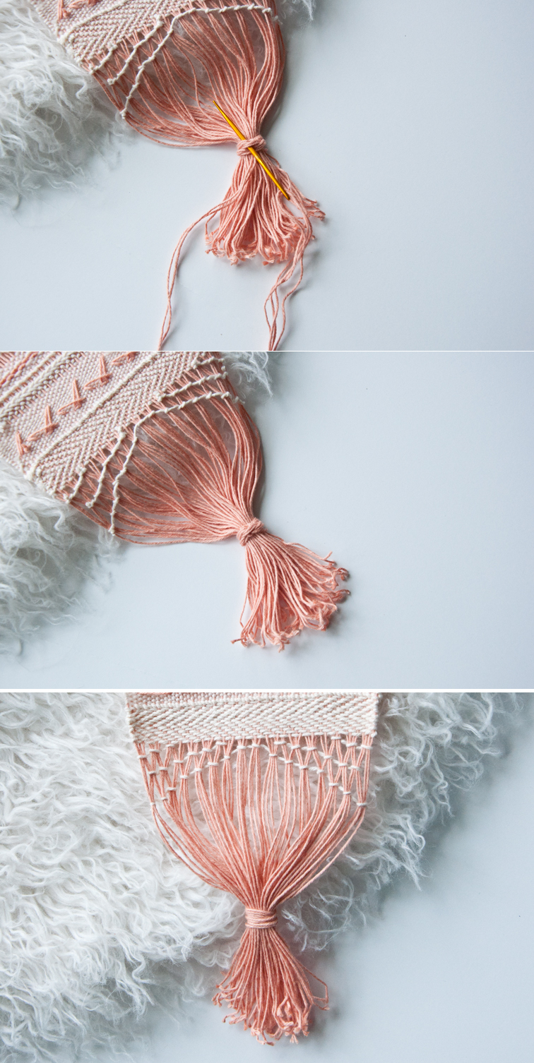 This delicate free weaving pattern concludes with a wrapped fringe