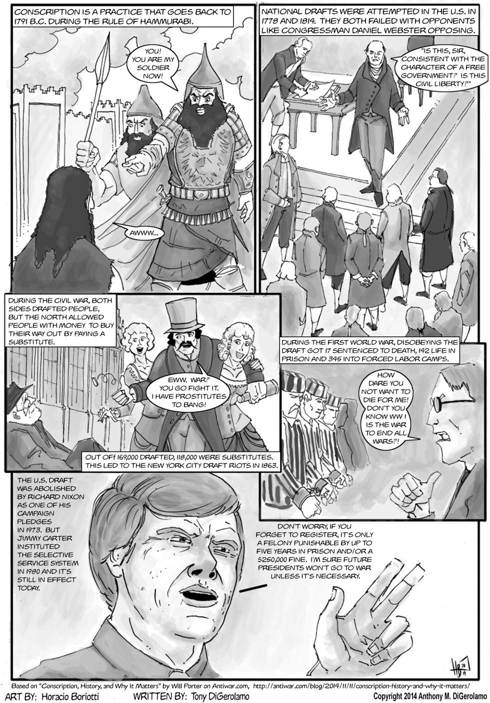 The Antiwar Comic:  Conscription is Slavery