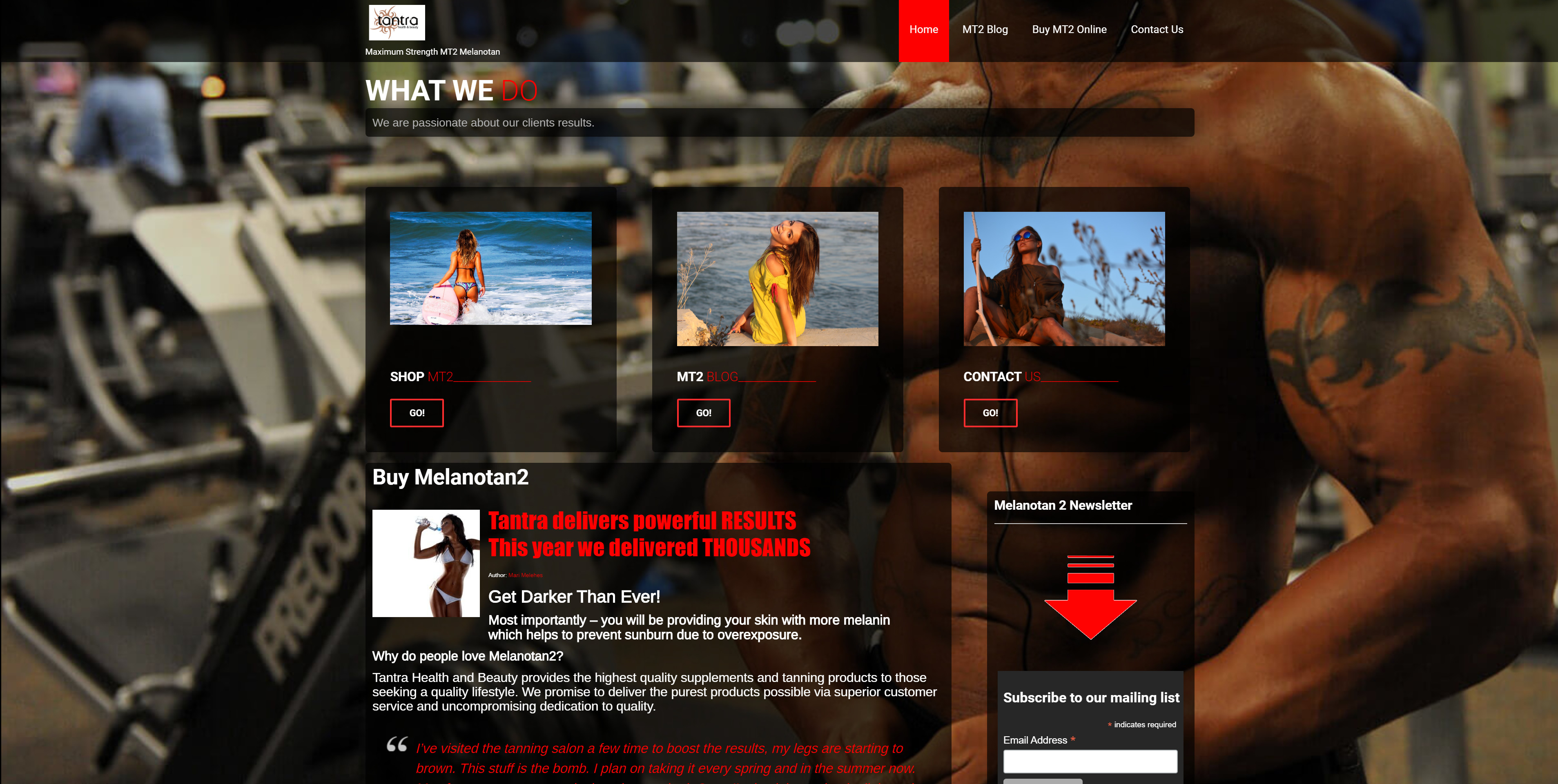 Tantra MT2 Custom Website Design