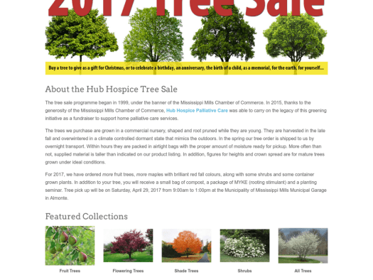 hub hospice palliative care tree sale