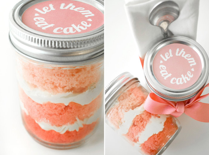 'Be My Bridesmaids' Ombre cupcakes in jars by Marry This! www.theweddingnotebook.com