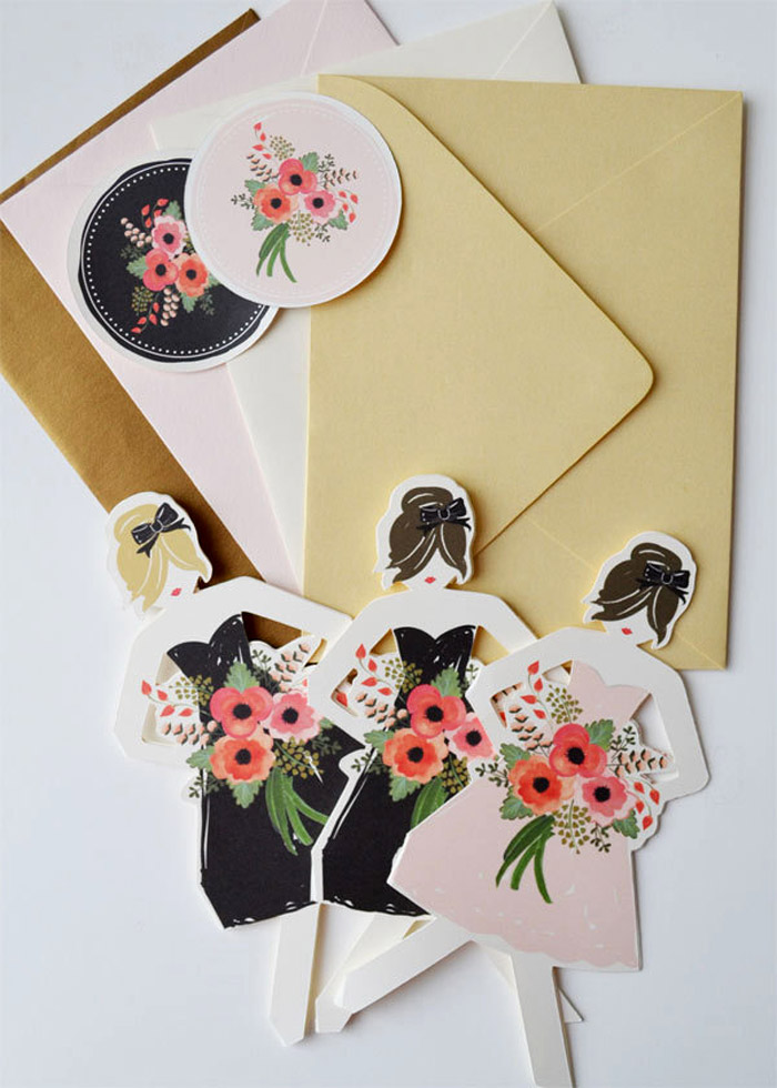 'Be my Bridesmaids' card by First Snow Fall on Etsy. www.theweddingnotebook.com