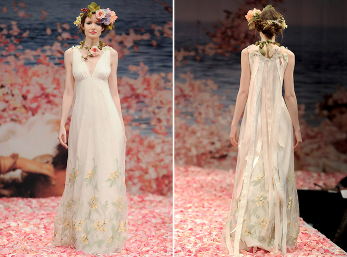Claire Pettibone 2013 Fall Collection – Aria. Iridescent green embroidery over lace with pastel ribbons streaming from the embellished back. www.theweddingnotebook.com