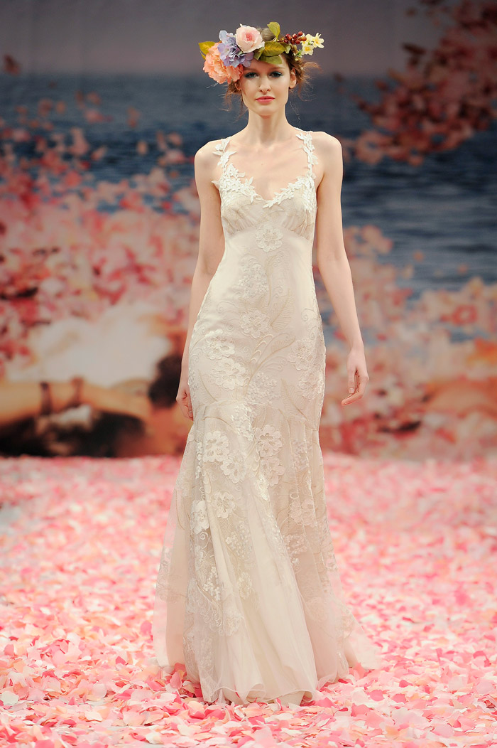 eec00837707 Claire Pettibone 2013 Fall Collection – Devotion. Ivory floral embroidered  mermaid silhouette with ivory linen