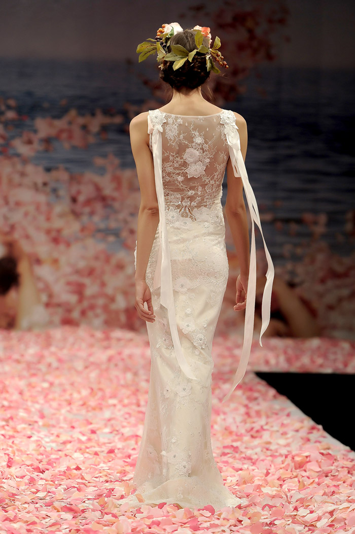 Claire Pettibone 2013 Fall Collection – Aphrodite. Ivory beaded lace gown with blush silk lining and ribbons streaming from the shoulders. www.theweddingnotebook.com