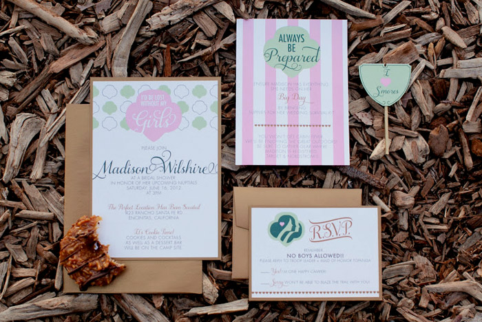 Pink and green bridal shower invitations. Beau & Arrow Events. Photo by Swoon by Katie. www.theweddingnotebook.com