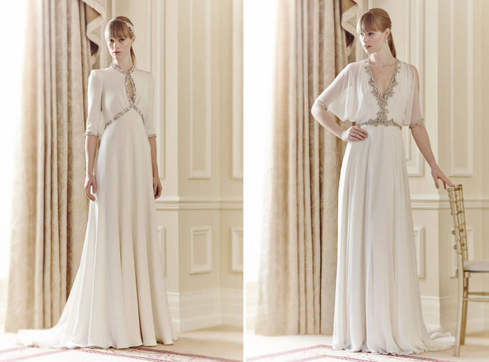 Left: Cynthia, Right: Lina – Jenny Packham Spring 2014 Collection. www.theweddingnotebook.com