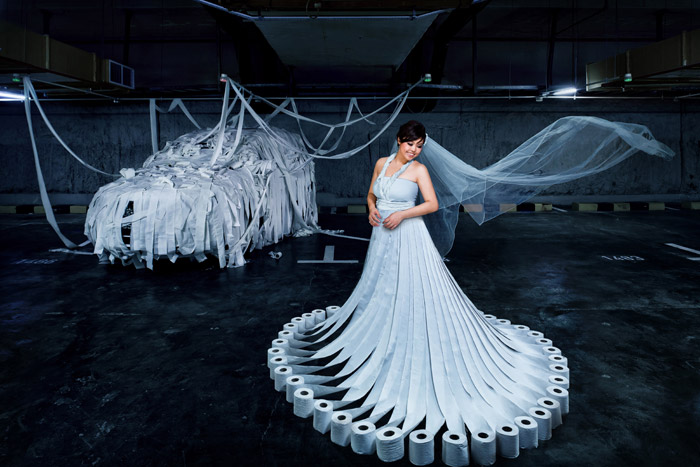 Paper bridal gown. Raymond Phang Photography. www.theweddingnotebook.com