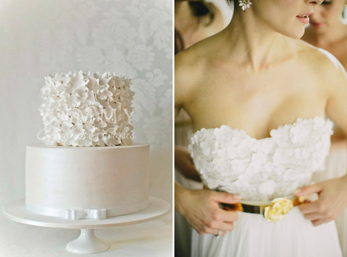 Left: Yummy Cupcakes and Cakes; Right: Monique Lhuillier, Photo by Terralogical. www.theweddingnotebook.com