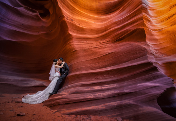 Antelope Canyon, Arizona. 16 Colourful Places In The World For Your Bridal Portraits. www.theweddingnotebook.com