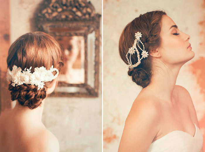 Left: Katya, Right: Gia –Jannie Baltzer Couture Headpieces 2015 Collection. www.theweddingnotebook.com
