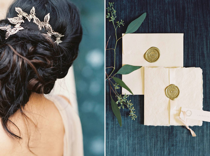 My Heart Flutters comb – Enchanted Atelier By Liv Hart Fall 2015 Collection; Erika Jack Invitation Suite for Liv-Hart. Photo by Laura Gordon Photography. www.theweddingnotebook.com