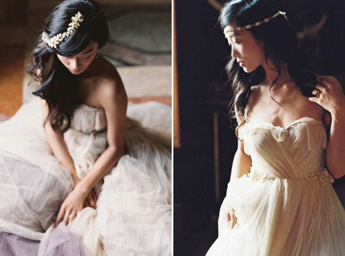 Left: Sonnet Vine; Right:Esmee Headband – Enchanted Atelier By Liv Hart Fall 2015 Collection. Photo by Laura Gordon Photography. www.theweddingnotebook.com