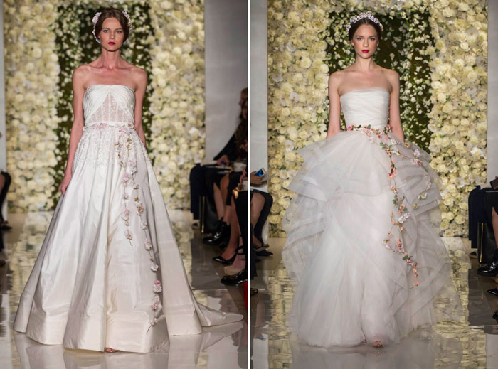 Left: I'm Divine; Right: I'm Romantic – Reem Acra Fall 2015 Bridal Collection. www.theweddingnotebook.com
