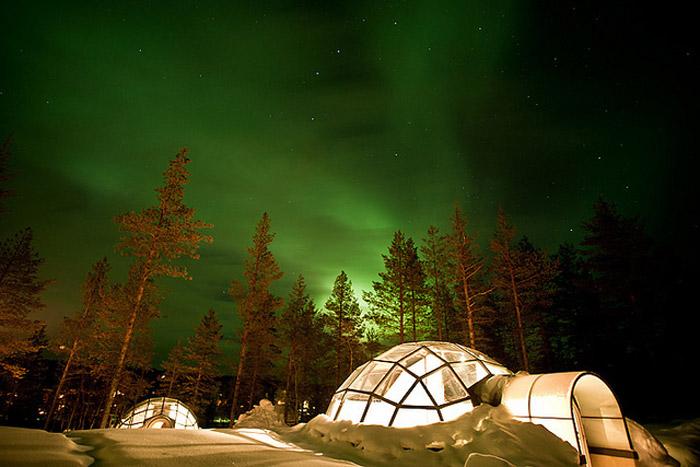 Northern Lights at Glass Igloo Village at Hotel Kakslauttanen, Finland