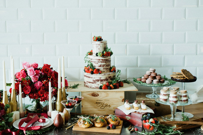 Marsala Themed Dessert Table. Photo by Inlight Photos. www.theweddingnotebook.com