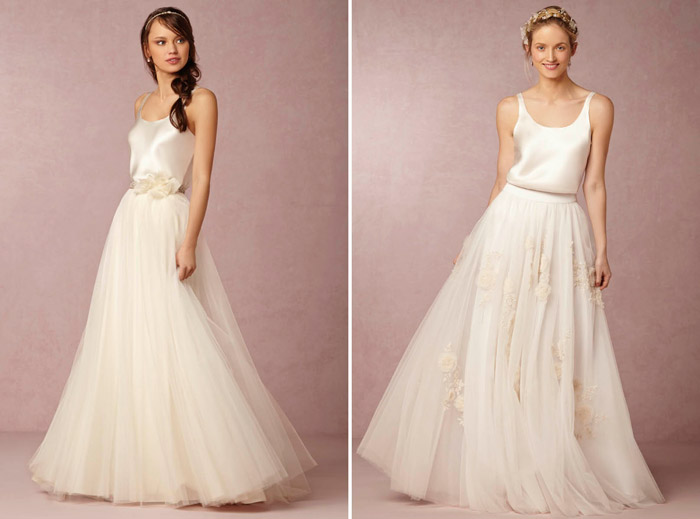 Left: Gracia Skirt; Right: Isabel Skirt. BHLDN Spring 2015 Bridal Collection. www.theweddingnotebook.com