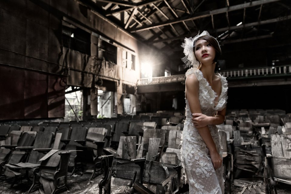 Styled Shoot In An Abandoned Cinema. Wee Heong Photography. www.theweddingnotebook.com